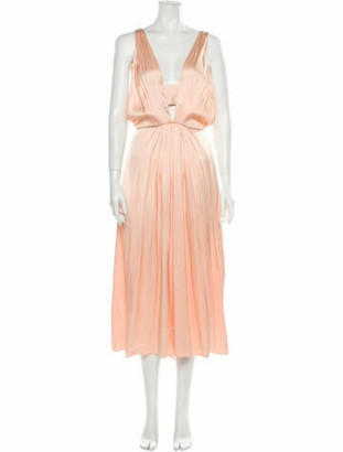 Rochas Silk Midi Length Dress w/ Tags Orange