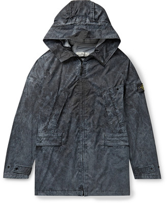 Stone Island Logo-Appliqued Pigment-Dyed Membrana 3l Hooded Parka