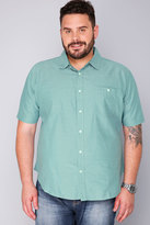 Yours Clothing BadRhino Green & White Stitch Detail Short Sleeve Shirt