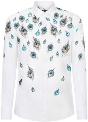 Dolce & Gabbana Peacock-print long-sleeve shirt