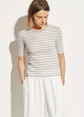 Striped Cashmere Elbow Sleeve Pullover