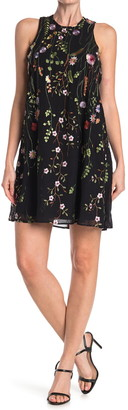 Calvin Klein Floral Embroidered Sleeveless Trapeze Dress