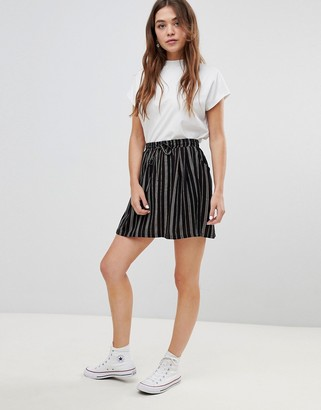 Brave Soul louisa stripe skirt with tie waist