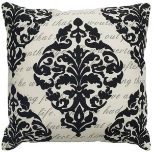 "Rizzy Home 20"" x 20"" Script under Print with Damask Poly Filled Pillow"