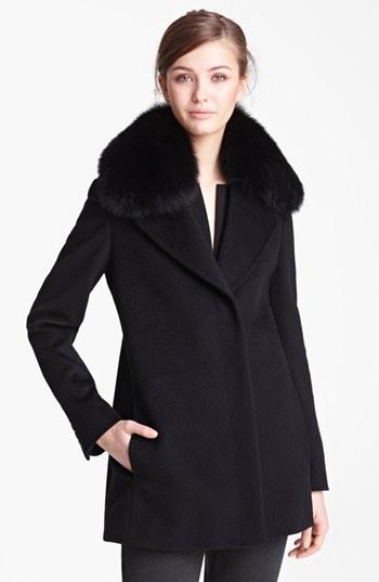 Max Mara Camel's Hair Swing Coat with Genuine Fur Collar