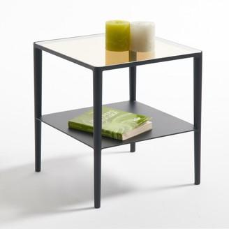 La Redoute La RAZZI Glass & Steel Square Two-Tier Side Table