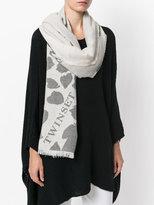 Twin-Set frayed edge heart print scarf