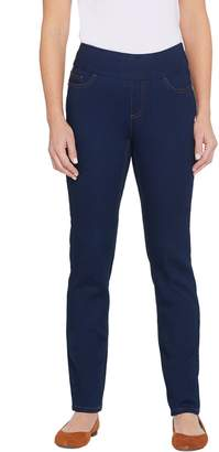 Denim & Co. Petite Soft Stretch Smooth Waist 5-Pocket Jeans