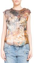 Balmain Distressed Alaska-Print Button-Shoulder Tank