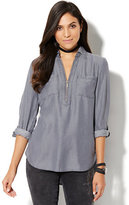 New York & Co. Soho Soft Shirt - Zip-Front Tunic - Ultra-Soft Chambray - Grey Sea Wash