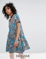 Reclaimed Vintage V Neck Dress In Paisley Print