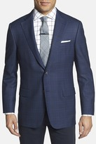 Hickey Freeman Beacon Blue Plaid Two Button Notch Lapel Wool Classic Fit Blazer