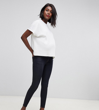 Asos DESIGN Materntiy Ridley high waisted skinny jeans in clean indigo wash with under the bump waistband-Blue