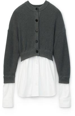 Alexander Wang Bi-Layer Oxford Shirting Cardigan