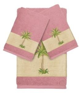 Linum Home Turkish Cotton Colton 3-Pc. Embellished Bath and Hand Towel Set Bedding