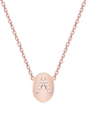 Mini Mini Jewels Oval Framed Diamond Initial Pendant Necklace