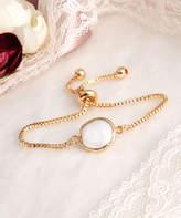 Handmade Art Women's Bracelets White - Cultured Pearl & 14k Gold-Plated Adjustable Bracelet