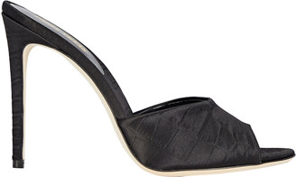Paris Texas Croc-Embossed Satin Slide Sandals