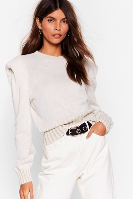 Nasty Gal Womens Pad Influence Relaxed Knitted Jumper - Beige - S