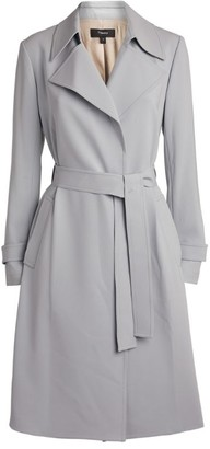 Theory Oaklane Belted Crepe Trench Coat