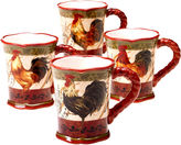 Certified International Tuscan Rooster Set of 4 Mugs