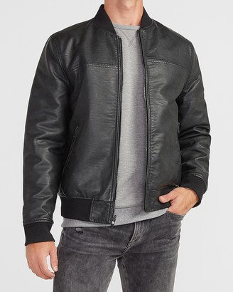 Express Black Vegan Leather Reversible Bomber Jacket