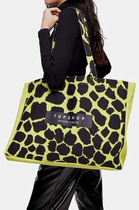 Topshop Yellow Animal Printed Oxford Circus Tote Bag