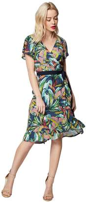 Morgan Hawaiian Floral Print Wrapover Dress with Tie-Waist