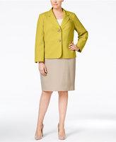 Le Suit Two-Button Colorblocked Skirt Suit