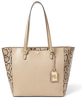 Lauren Ralph Lauren Newbury Collection Halee Python-Embossed Tote