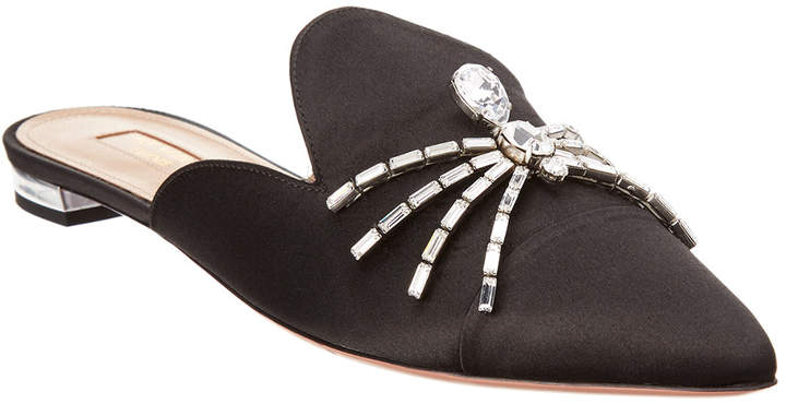 Aquazzura Crystal Spider Satin Mule