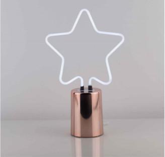 Ginger Snap - Star Neon Desk Lamp - Wood/Blue