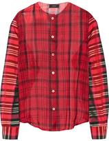 Joseph Asher Checked Silk-organza And Satin-twill Shirt - Red