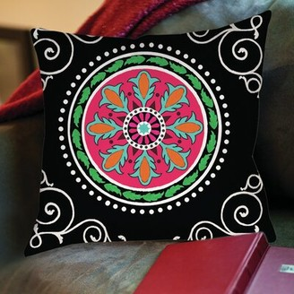"""Manual Woodworkers & Weavers Boho Medallion Printed Throw Pillow Size: 20"""" H x 20"""" W x 5"""" D, Color: Black"""