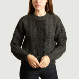 See by Chloe Anthracite Lace Cable Knit Jumper - Wool and Nylon   s