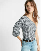 Express gingham one shoulder puff sleeve top