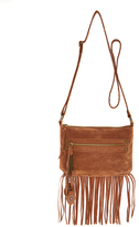 Cognac Fringe Tassel-Zip Crossbody Bag