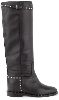 Via Roma 15 Boot In Black Leather With Studs And Strap With Buckle