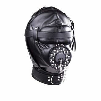 Dominate All Stars Mask Headgear Lock Buckle with Cover All-Round Closed Black Leather