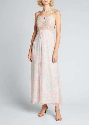 LoveShackFancy Elma Floral Slip Dress with Lace