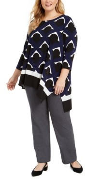 Alfani Plus Size Printed High-Low Top, Created for Macy's