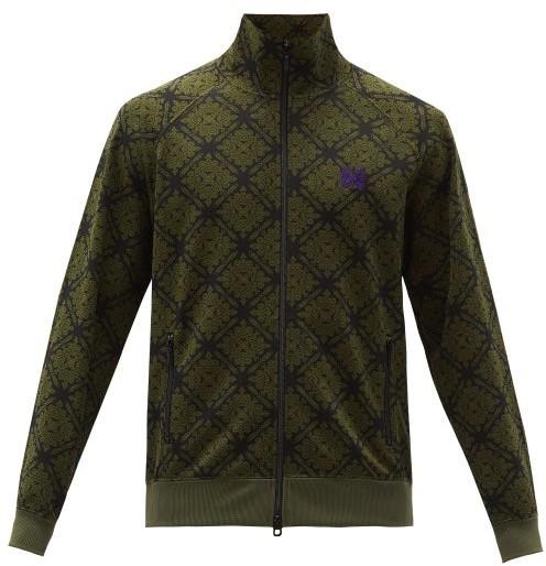 Needles High-neck Abstract-jacquard Zipped Jacket - Green