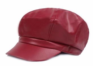 FENGFA Womens PU Leather Visor Beret Peaked Winter Hat Newsboy Flat Cap Baker Boy Hats (Red)