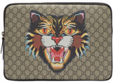 Gucci Beige Gg Supreme Angry Cat Laptop Case