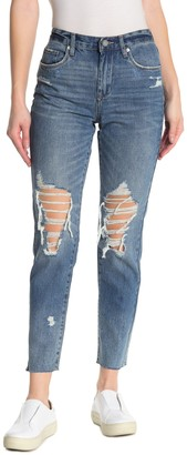 Blank NYC Distressed High Rise Tapered Jeans