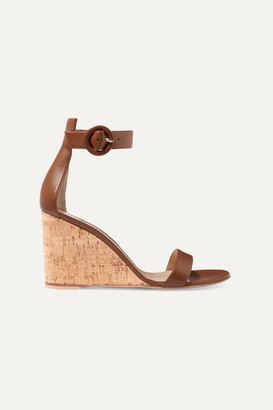 Gianvito Rossi Portofino 85 Leather Wedge Sandals - Tan