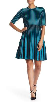 Nanette Lepore NANETTE Striped Fit & Flare Cocktail Dress