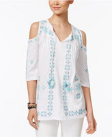 Style and Co Petite Embroidered Cold-Shoulder Peasant Top, Only at Macy's