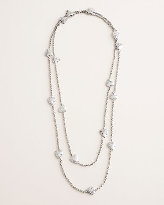 Chico's Chicos Long Silvertone Pave Heart Single-Strand Necklace