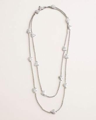 Chico's Long Silvertone Pave Heart Single-Strand Necklace